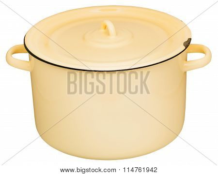 Large Yelow Enamel Stockpot Closed By Lid Isolated