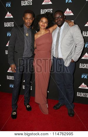 vLOS ANGELES - JAN 14:  Keith Lee Stanfield, Zazie Beetz, Brian Tyree Henry at the Baskets Red Carpet Event at the Pacific Design Center on January 14, 2016 in West Hollywood, CA