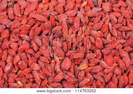 Many Dried Red Goji Berries