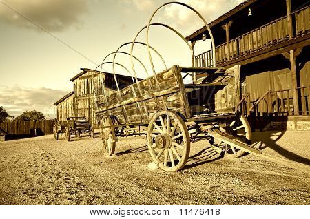 Wild west Cowboy town with wagon