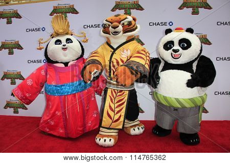 LOS ANGELES - JAN 16:  Mei Mei, Tigress, Animated Characters at the Kung Fu Panda 3 Premiere at the TCL Chinese Theater on January 16, 2016 in Los Angeles, CA