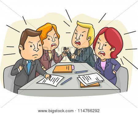 Illustration of a Tensed Board Meeting with Employees Arguing
