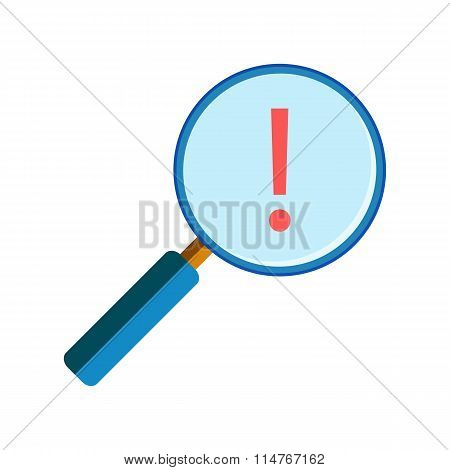 Magnifying glass with exclamation mark