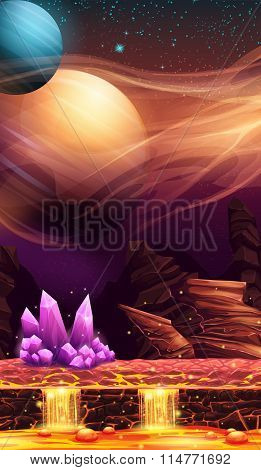 Illustration Of Fantastic Landscape Of Red Planet With Purple Crystals