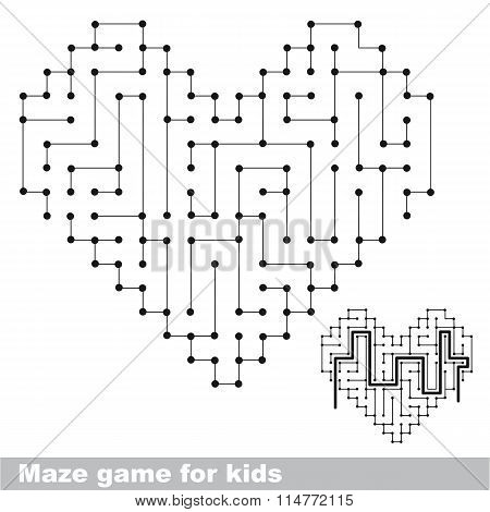 Heart colorless kid maze game. Search the way.