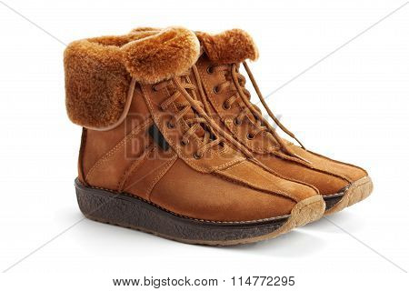 Warm Boots With Lapel Sheepskin