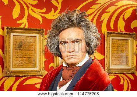 Bangkok, Thailand - December 19: A Waxwork Of Ludwig Van Beethoven On Display At Madame Tussauds On