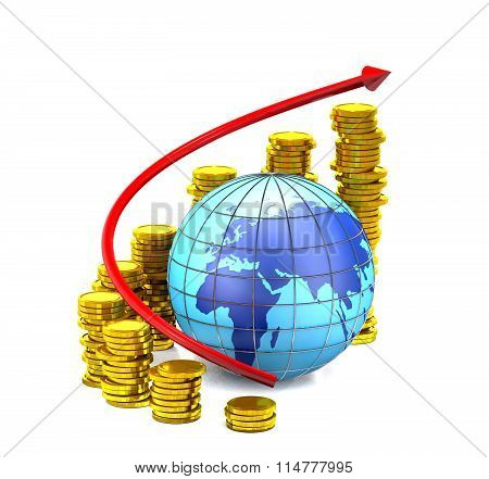 Globe, Gold Coins And Red Arrow.