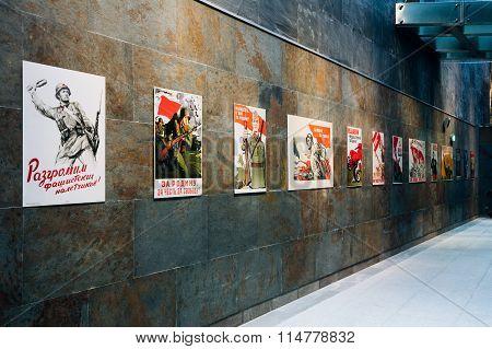 Minsk, Belarus - December 20, 2015: Soviet patriotic propaganda posters of World War II In The Belarusian Museum Of The Great Patriotic War in Minsk, Belarus poster