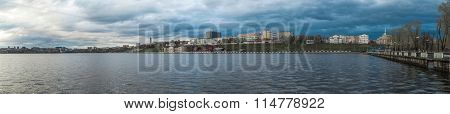 Pond panorama on the embankment in the city of Izhevsk poster