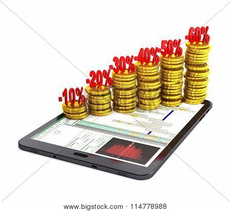 Tablet Pc And Columns Of Gold Coins.