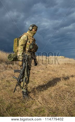 Soldier with a gun in the medical field
