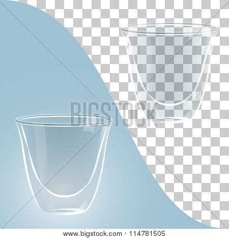 Transparent glass coffee cups on blue and transparent background