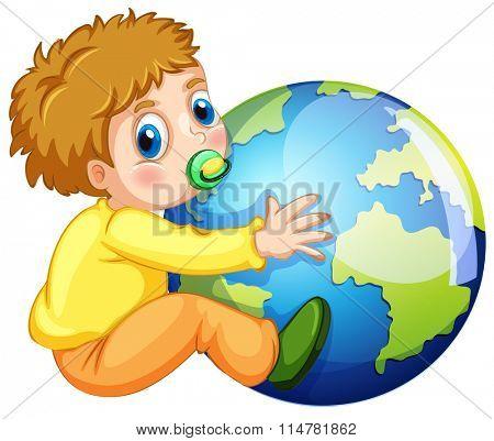 Todler hugging the earth illustration