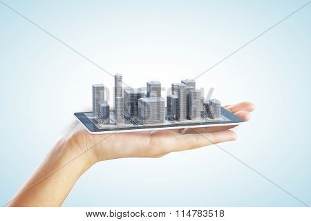 3D City Buildings On Smartphone And Man Hand
