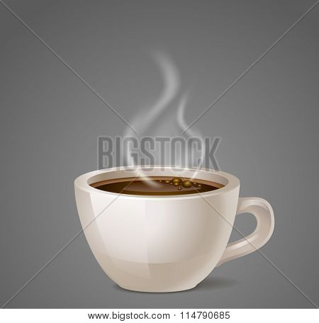 black coffee cup vector icon with steam