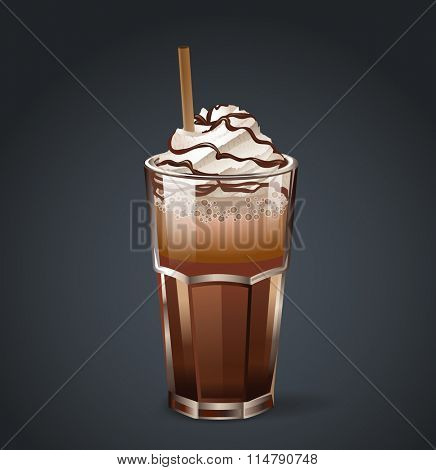 Frappe or irish coffee in glass with cream, chocolate and straw. Vector illustration.