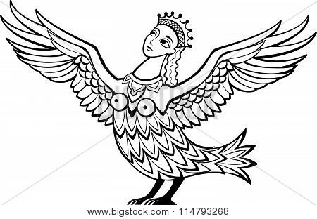 Mythical Character - Creature With The Body Of A Bird And The Head Of A Beautiful Woman.