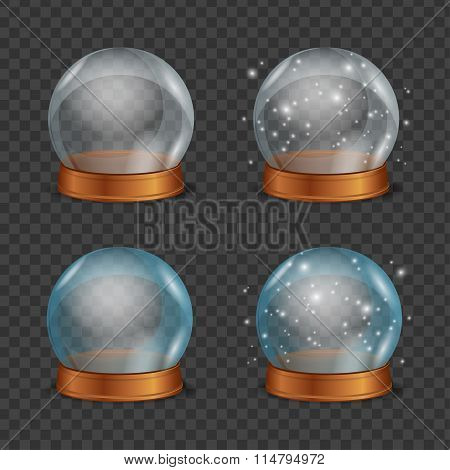 Empty Magic Crystal Ball Set. Vector