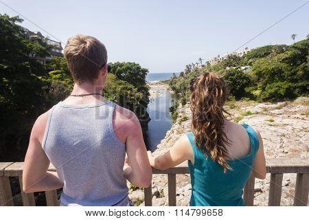 Teenagers Bridge Lagoon Beach