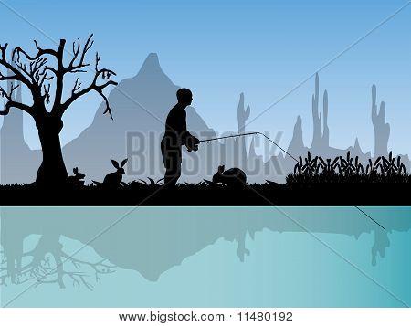 Fisherman in nature