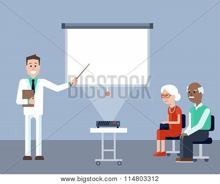 Doctor on the medical seminar for seniors