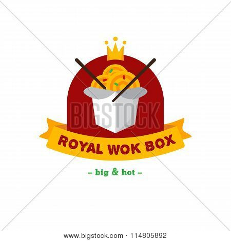 Vector bright wok box chineese cafe logo. Brand sign