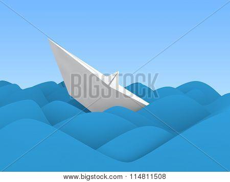 3d paper boat sinking in ocean wave