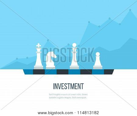 Flat line design concept for investment, finance, banking, market data analytics, strategic management. Strategy for successful business. Investment growth. Investment business. Investment management. poster