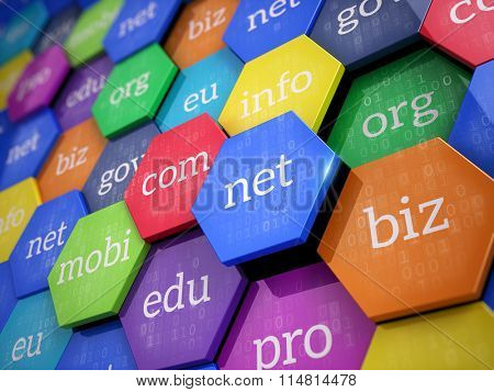 Domain names - internet and web telecommunication concept