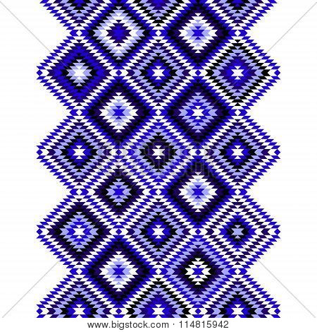Black blue and white aztec ornaments geometric ethnic seamless border, vector