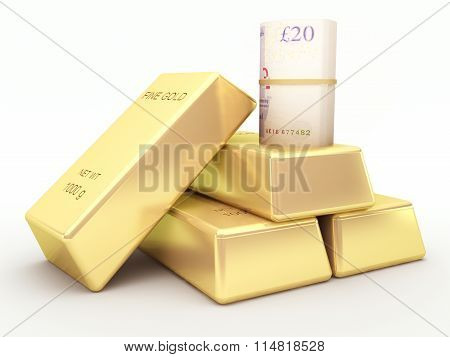 British pound banknote roll and gold bars