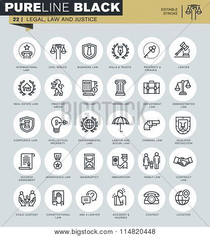 Thin line icons set of legal, law and justice