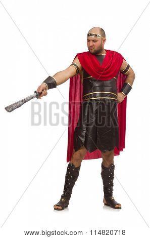Gladiator holding sword isolated on white