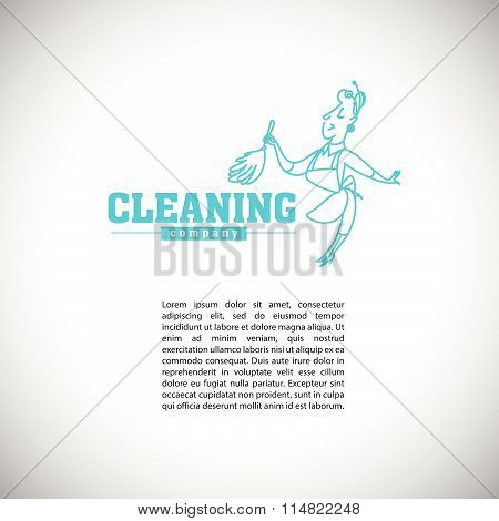 Vector logo template for cleaning company or service with text place.