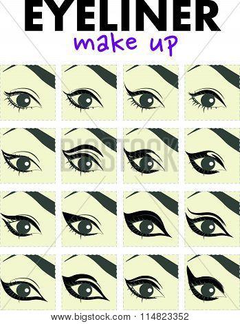 Vector flat illustration of eyeliner make up.