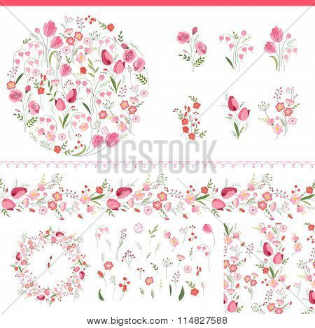Floral spring elements with cute bunches of tulips and roses. Endless horizontal  pattern brush. For romantic and easter design, announcements, greeting cards, posters, advertisement.