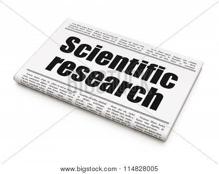Science concept: newspaper headline Scientific Research