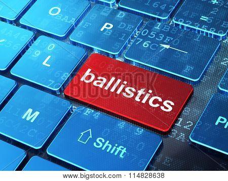Science concept: Ballistics on computer keyboard background