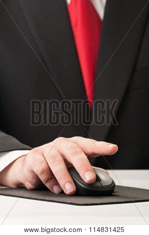 Business Hand Clicking Wireless Mouse.