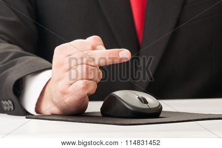 Business Man Using His Middle Finger.