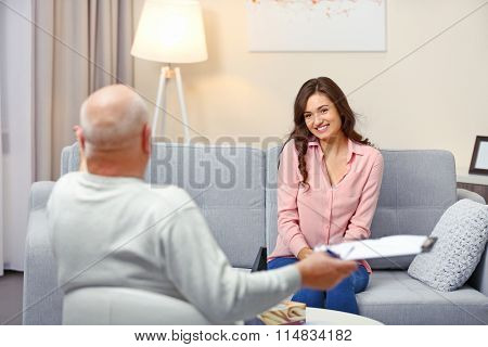 Young woman on reception at psychologist