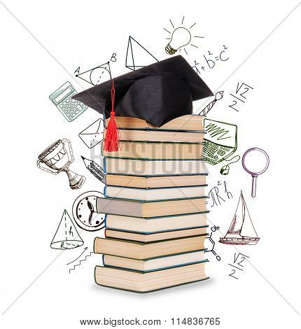 Pile of books with grad hat and vector images, isolated on white