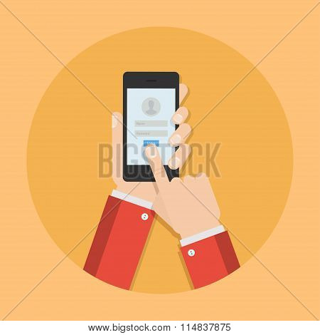Password by phone vector illustration. Login mobile app. Enter the your account concept. Phone security design. Access to phone in flat style. User identification. poster