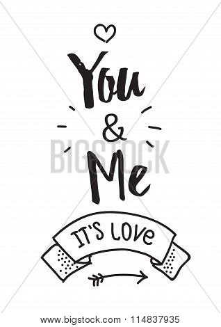 Happy Valentines Day card design with ribbon. Typographic and hand drawn elements. White background.