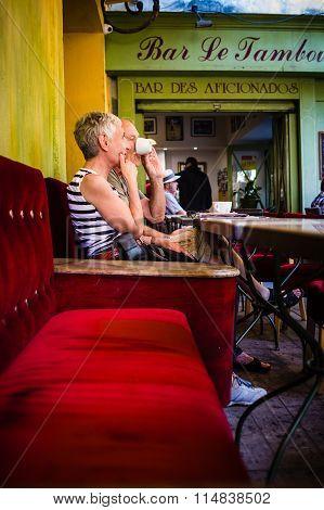 Arles France -September 8, 2105: A seniors couple in Van Gogh cafè France. 2015