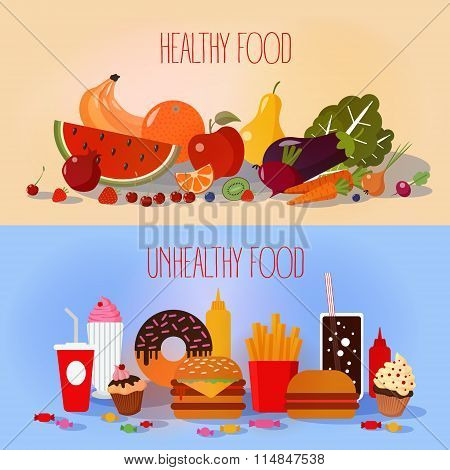 Healthy Food And Unhealthy Fast Food