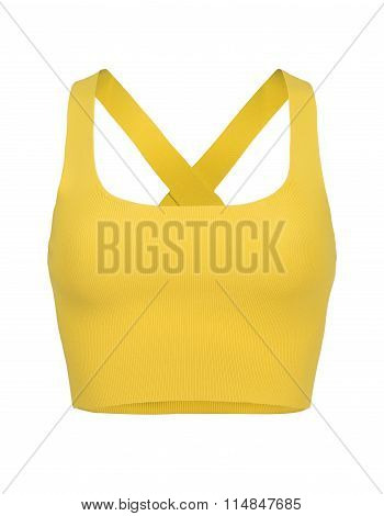 Cut-out Of Yellow Razorback Midriff Top On Invisible Mannequin