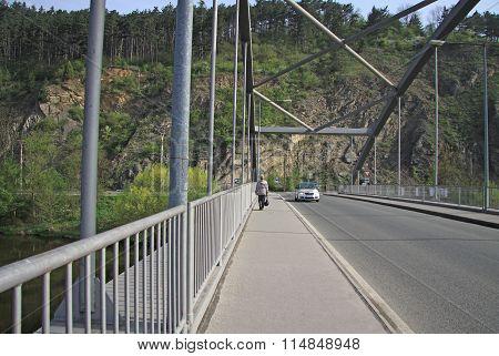Karlstejn, Czech Republic - April 30, 2013: Bridge Over The Berounka River Near The Village Karlstej