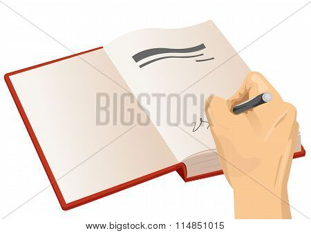hand signing the first page of a hardcover